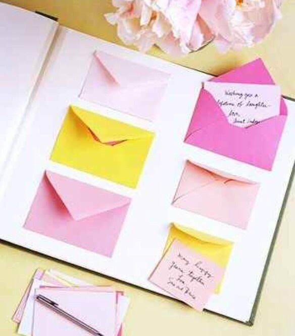 Baby shower games!  Advice books are so great! What you do is just get a photo album& glueing envelopes to it! The guests just write little sweet nothings for the child to read later on in life to remind them& know how much people love them.