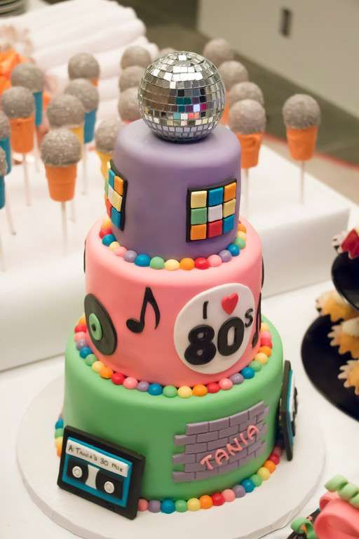Fantastic 80's birthday party cake! See more party ideas at CatchMyParty.com!