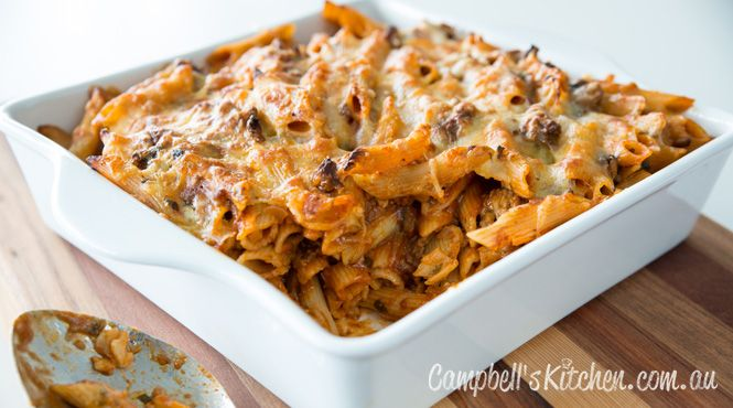 Baked Penne with Tomato and Mushroom