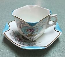 Antique Vintage Square Victorian Oriental Fan England White Tea Cup And Saucer: