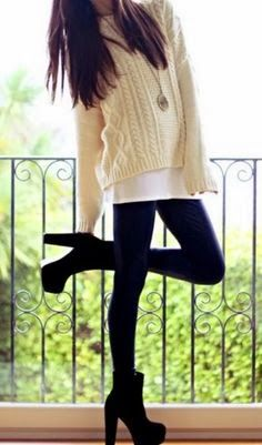Cute chunky booties and leggings with sweater