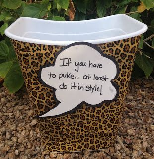 I  made this leopard trash can as a cute barf bucket for a friend going through chemo.  A funny yet thoughtful gift.  Sometimes it can be hard thinking of gifts for cancer patients
