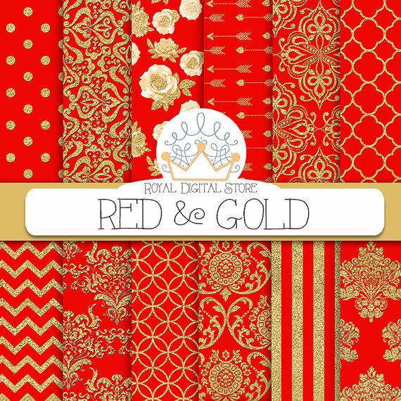 """Red Digital Paper: """" RED & GOLD"""" with red and gold damask, metallic gold damask, red scrapbook paper, red and gold patterns for scrapbooking #romantic #red #digitalpaper #scrapbookpaper #damask #gold"""