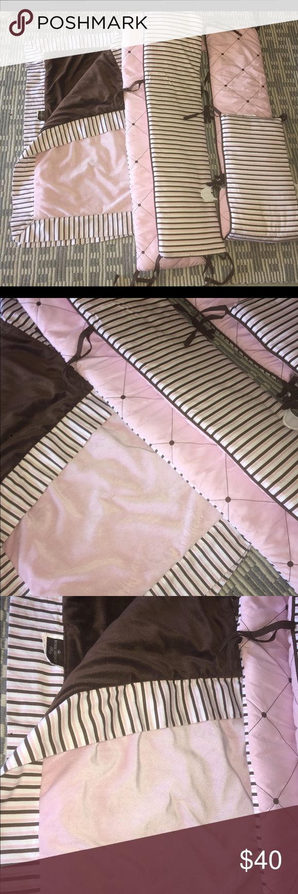 5 PIECE BABY GIRL CRIB BEDDING SET 4 toe string bumpers and matching faux fur comfrtor / blanket . Light pink chocolate and brown colored . Retail value over $175 velvet rose Accessories