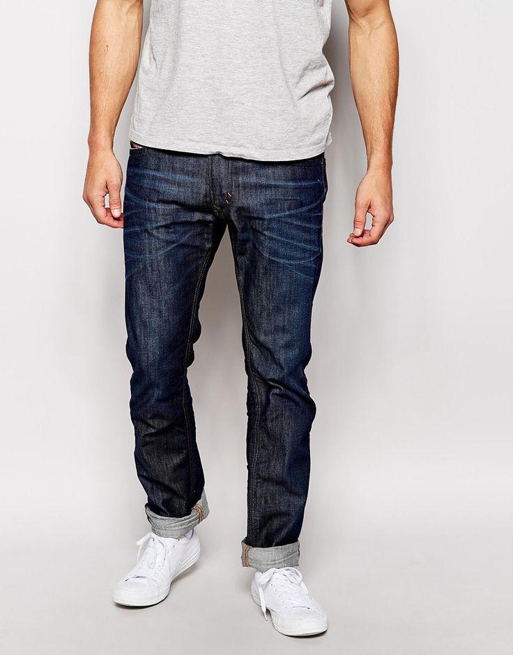 Image 1 ofDiesel Jeans Thavar 842N Slim Tapered Fit Dark Wash