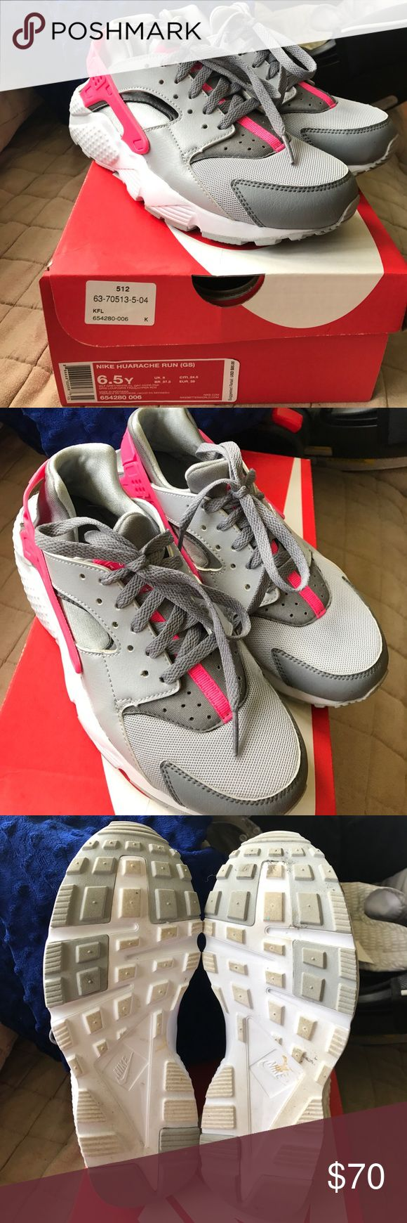 Nike Huaraches Gray, white, and pink Huaraches. Kids 6.5 but they do run small. I would say they fit a 7 or 7.5 in women's. Worn only twice, in perfect condition. Last photo is showing a marking but the shoe came like that when bought. Nike Shoes Sneakers
