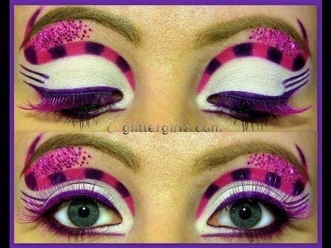 Cheshire Cat Inspired Makeup.  Pink/Purple for Disney cartoon version or Gray/ Turquoise for the Tim Burton version.