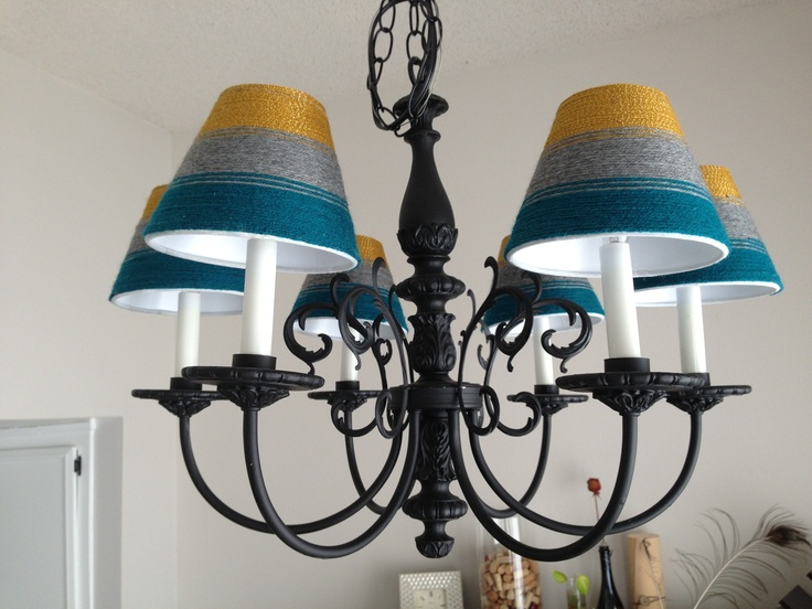 DIY Chandelier Lamp Shades - paper craft shades and 3 different colors of yarn.