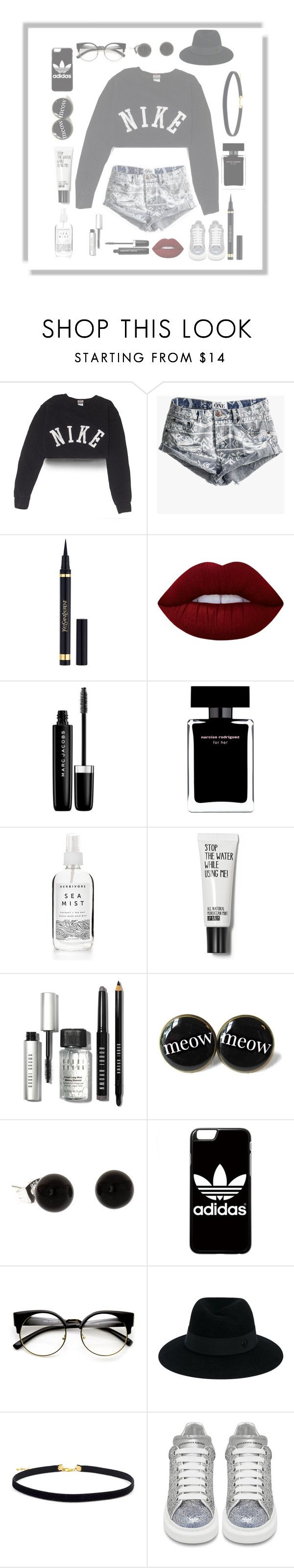 """""""With the pony you blonde """" by seniora ❤ liked on Polyvore featuring NIKE, One Teaspoon, Yves Saint Laurent, Lime Crime, Marc Jacobs, Narciso Rodriguez, Bobbi Brown Cosmetics, adidas, Maison Michel and Alexander McQueen"""