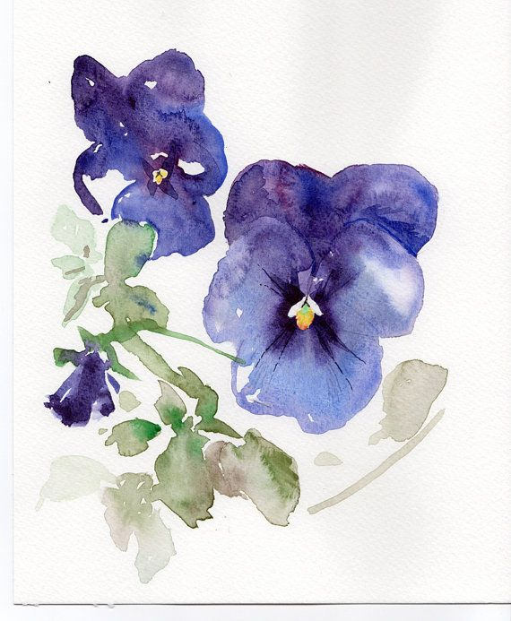 Violets FLOWERS GICLEE Print of original watercolor ...
