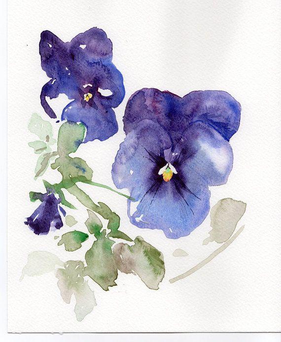 Violets Watercolor original painting viola by VerbruggeWatercolor