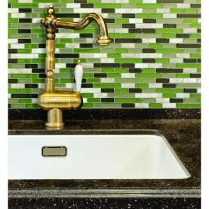 Smart Tiles Murano Verde 10.20 in. x 9.10 in. Peel and Stick Mosaic Decorative Tile Backsplash in Spring Green-SM1058-1 - The Home Depot