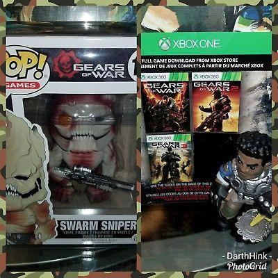 Gears of War Trilogy Gears of War 1 2 3 Xbox 360 Xbox One + Funko POP figure LOT