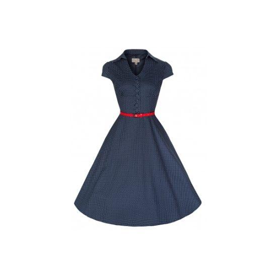 Lindy Bop Rebecca Navy Polka Retro šaty ve stylu 50. let. Romantické šaty v námořnické modré s drobným bílým puntíkem. Vhodné pro slavnostnější příležitost - svatbu, promoci, ale také na zahradní párty, večeři, do zaměstnání - záleží jen na vás.