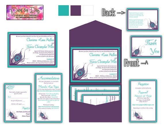 wedding pocketfold invitation template instant download