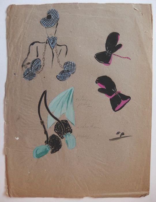 Pierre Cardin (toegeschreven aan) - Studies van handschoenen sjaals en mutsen  Pierre Cardin (1922-) (toegeschreven aan)-studies van hoed handschoenen en sjaals Tekening in zwarte inkt en waterverf op papier getint schets Ondertekend met de initialen CP (Pierre Cardin) 34 x 25 cm Informatie: Deze tekeningen zijn afkomstig van het modehuis de archieven van Marcelle Chaumont die een van de eersten die de jonge Pierre Cardin betrekken was; Hij steunt het ontwerp-modellen waaronder de workshop…