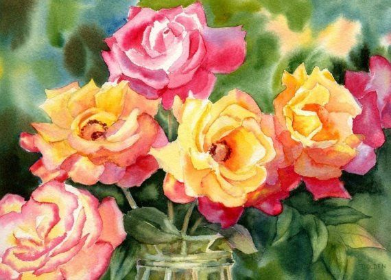 Mary Ellen Golden is such a talented watercolor artist!  Love these gorgeous roses!