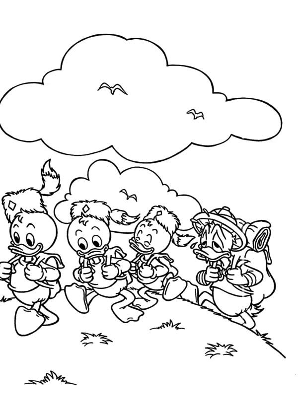 Duck Tales Huey Dewey And Louie Hide From Their Uncle Donald Coloring Pages