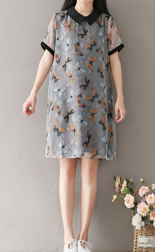 Women loose fit over plus size retro butterfly dress tunic party fashion chic #Unbranded #dress #Casual