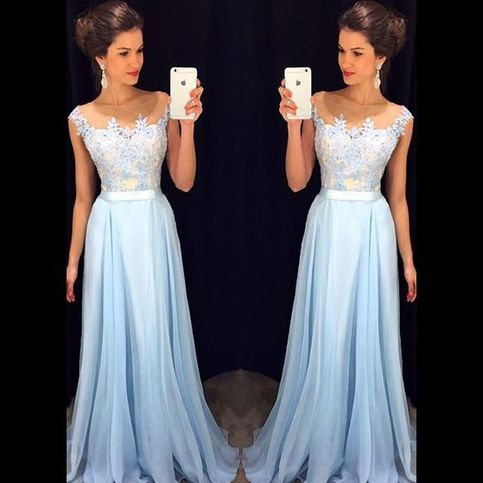 Sleeveless A-line Chiffon Long Prom Dress,evening dresses