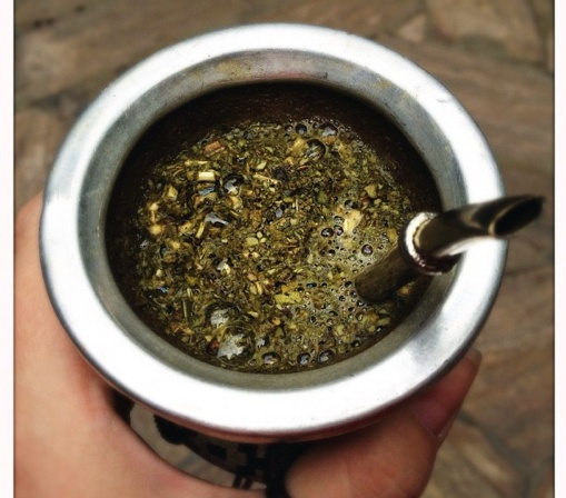 Travel to Argentina and have some  Yerba Mate. Mate is popular all around South America—in Paraguay, Brazil, Uruguay, Chile, Peru and Bolivia especially—Mate is a type of shrub holly, and yerba are its leaves.