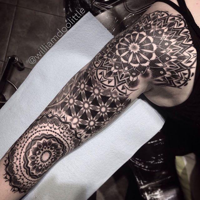 Thanks Selena! One more small sitting left. #studiocitytattoo #tattoo #geometric #geometry #dotwork #stipple #stippling #mandala #losangeles #studiocity #noho #pointillism #dotworktattoo #mandalatattoo #geometrictattoo #blackwork #blxckink