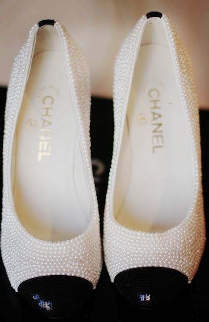 Chanel shoes...look at these closely. Every Southern lady should have a pair ; pearls go with everything!