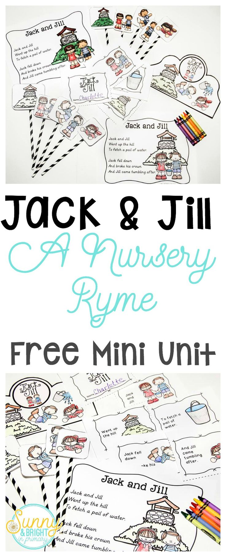 Nursery Rhymes Freebie! Jack & Jill Mini Unit- Poster, puppets, crown, booklet & more! So cute! Perfect for pre-k, kindergarten & first grade!