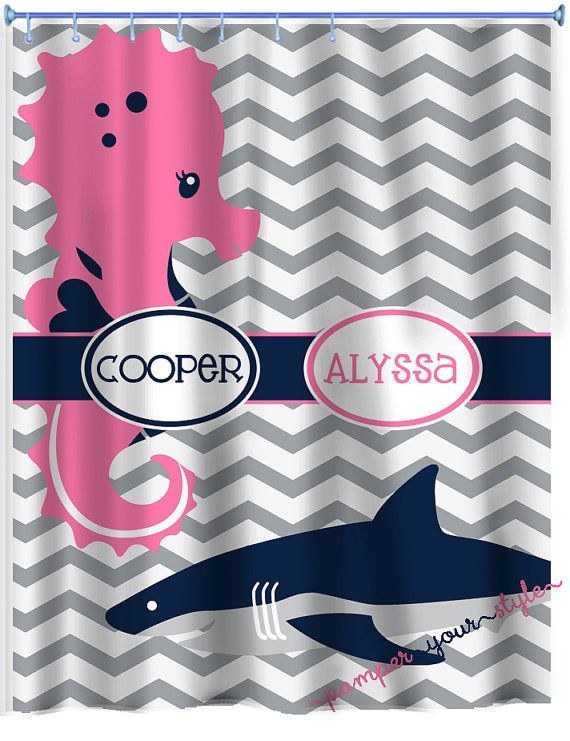 Seahorse and Shark Shower Curtain Personalized by PAMPERYOURSTYLE