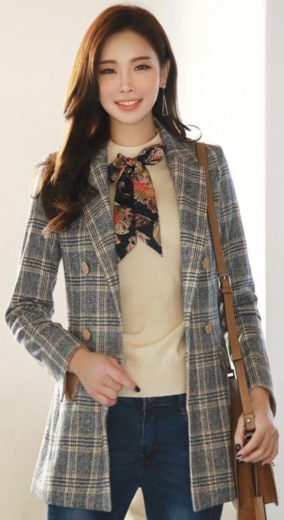 StyleOnme_Check Print Double-Breasted Slim Fit Tailored Jacket #check #jacket #koreanfashion #kstyle #kfashion #elegant #seoul
