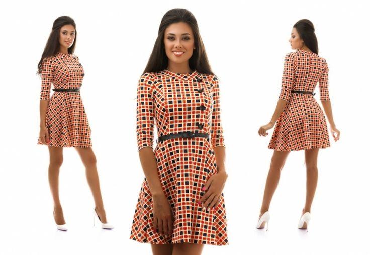 Платье в квадратик юбка клеш оранжевое