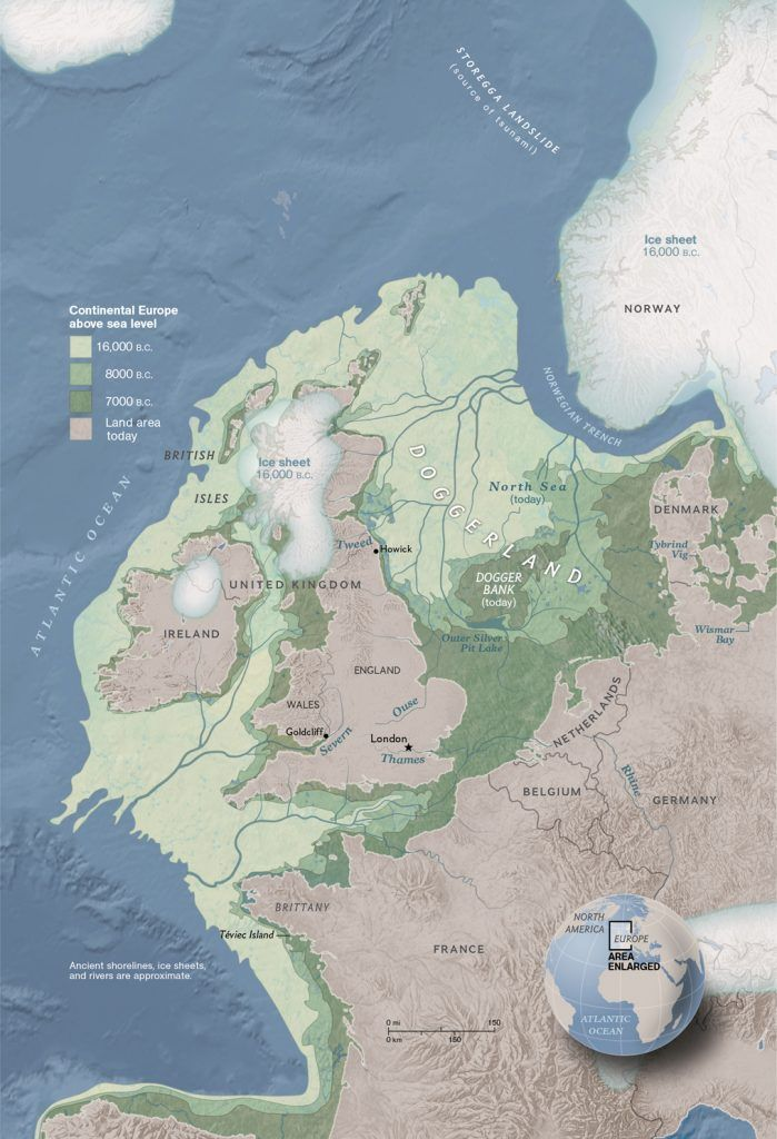 Back then, continental Europe was connected to UK with a land mass called Doggerland.