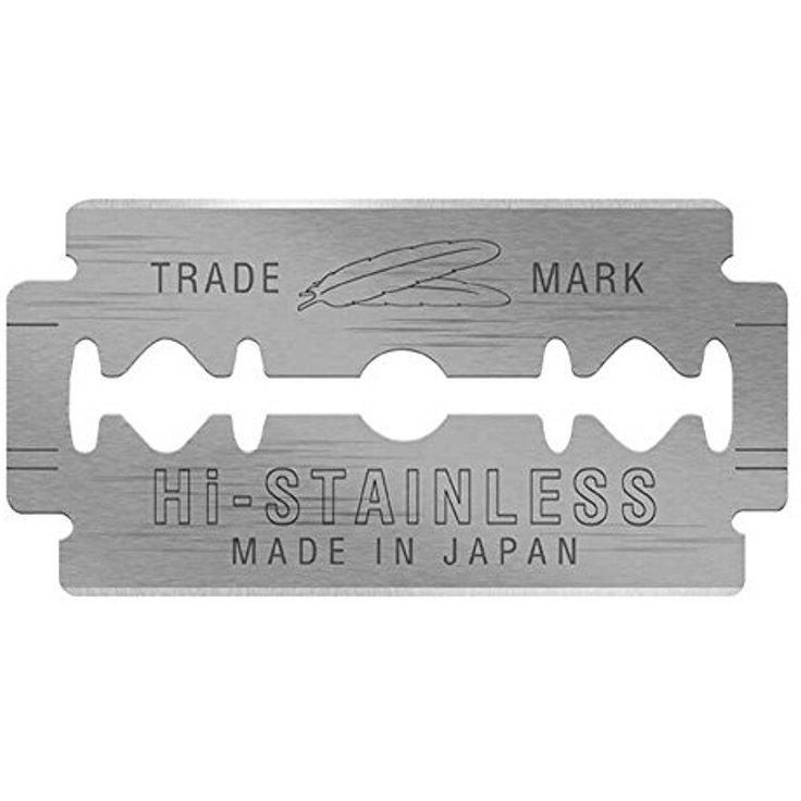Feather Safety Razor Blades Double Edge Hi Stainless Platinum Blades 50 Count #Feather