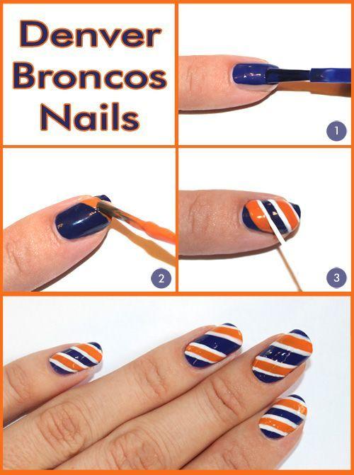 Super Bowl nail art — Broncos color combo