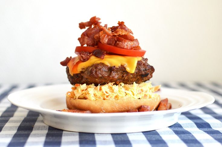 """""""The Tower of Burger""""  Grilled Hamburger with Coleslaw, Serrano and Cheddar."""
