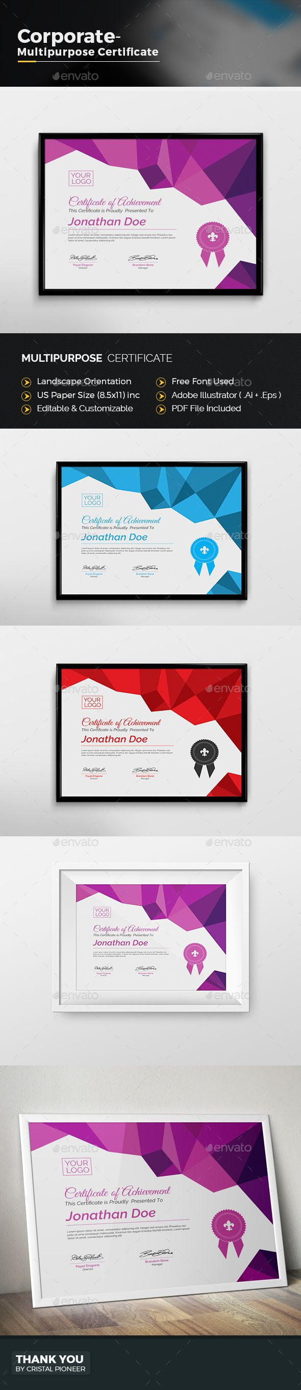 11 best Certificates   Employee Recognition images on Pinterest     Multipurpose Certificate Design Template   Certificate Template Vector EPS   Vector AI  Download here