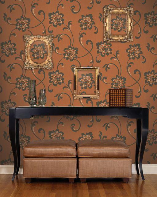 Sharon Copper Jacobean Floral Wallpaper contemporary-wallpaper