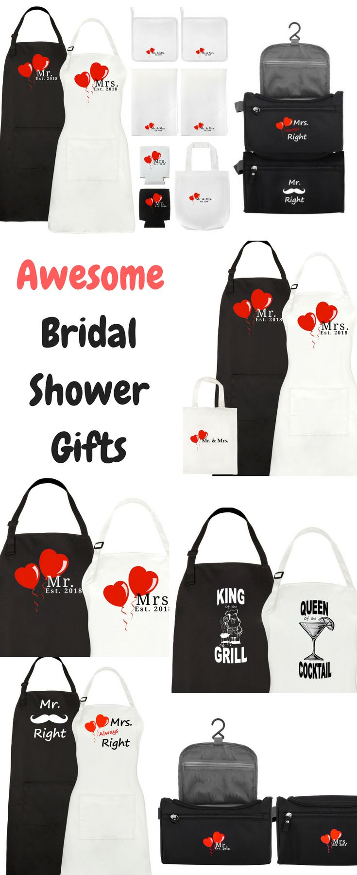 Wonderful Bridal Shower and Wedding Gift Ideas.  Mr and Mrs Est 2018 Travel Bags and Apron Sets make thoughtful and original wedding or engagement gifts.  Also, the couples apron sets are wonderful as part of a kitchen themed gift basket.  Gifts the bride and groom can enjoy together for many years to come!    Check it out:  www.mapleoriginals.com