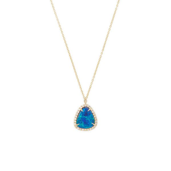 Rina Limor Women's Australian Doublet Opal & Diamond Necklace - Blue ($995) ❤ liked on Polyvore featuring jewelry, necklaces, blue, blue diamond necklace, blue pendant necklace, diamond necklace, pendant necklaces and opal necklace
