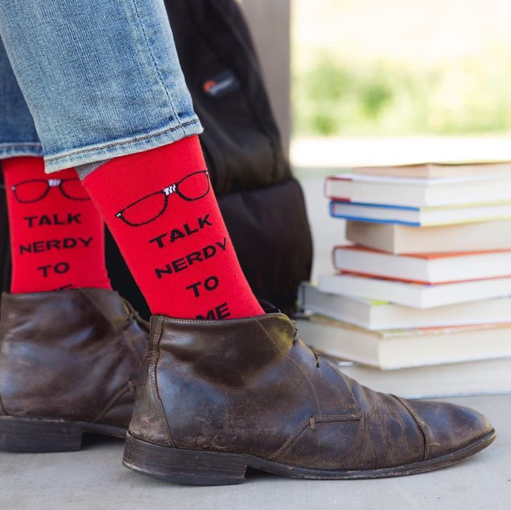 Talk Nerdy to Me Funny Men's Dress Socks | Fun Gift Socks for Men | Novelty Wording Socks