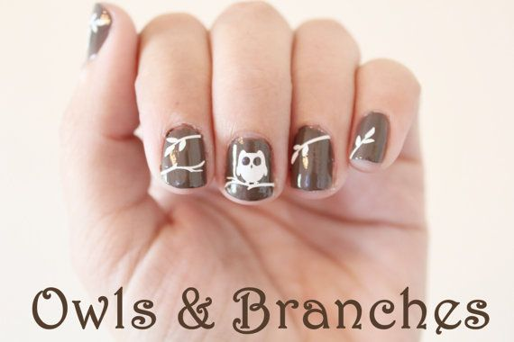 Owls and Branches Vinyl Nail Stickers pack of 30 by stickitvinyl, $2.99