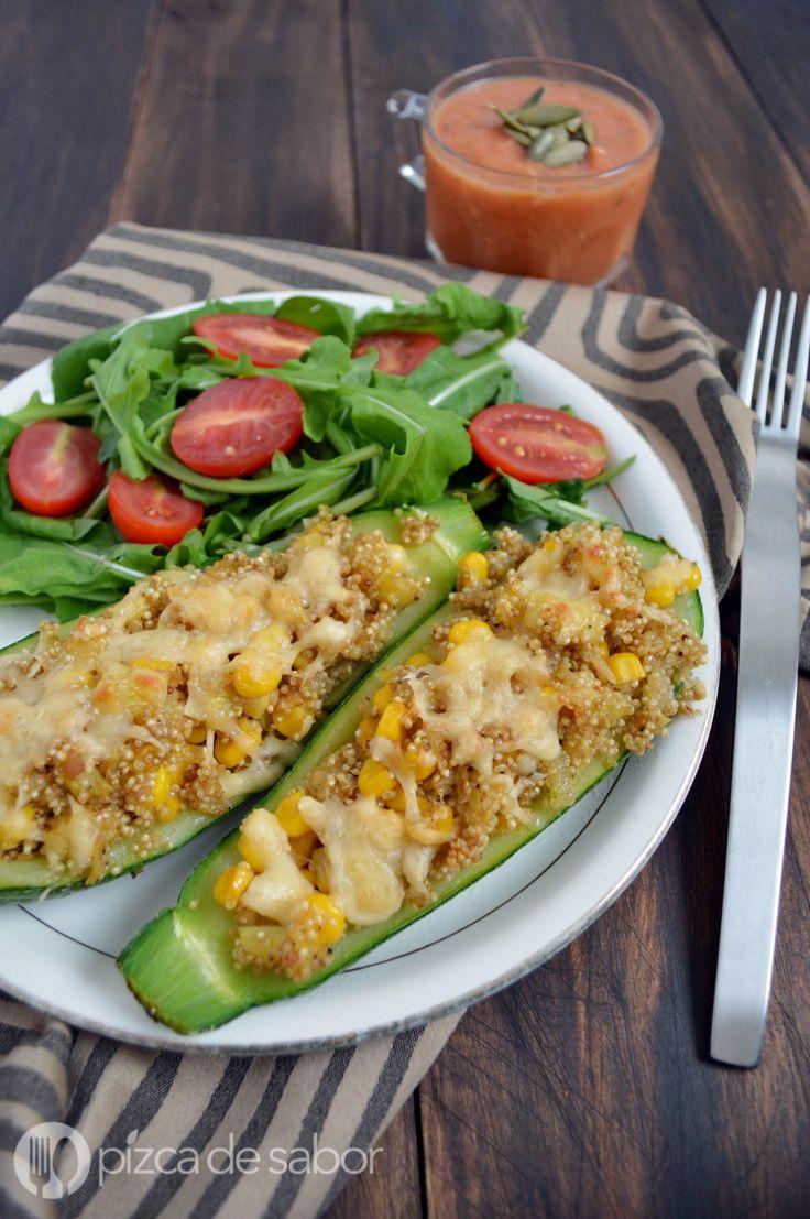 Calabacitas rellenas de quinoa y elote (calabacín, zapallo italiano o zucchini). Muy fáciles de preparar y saludables, te van a encantar!