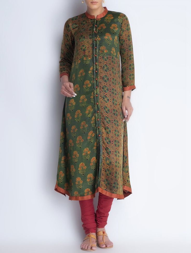 Buy Green Button Down Vegetable Printed Gajji Silk Kurta Online at Jaypore.com