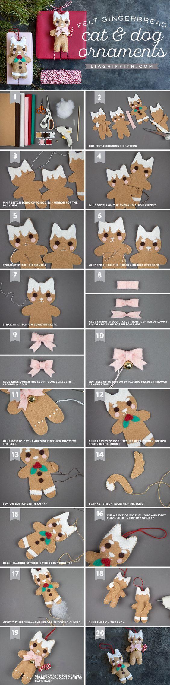 Gingerbread Animal Ornaments - Lia Griffith - www.liagriffith.com #diyornament #diyornaments #diychristmas #diyholiday #diyholidays #felt #feltcute #diyinspiration #madewithlia