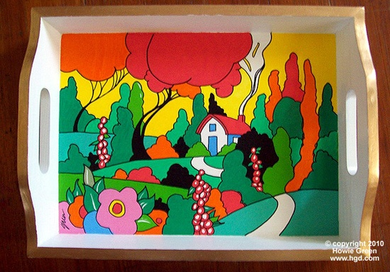 Art Deco Landscape Clarice Cliff style tray by Howie Green, via Flickr