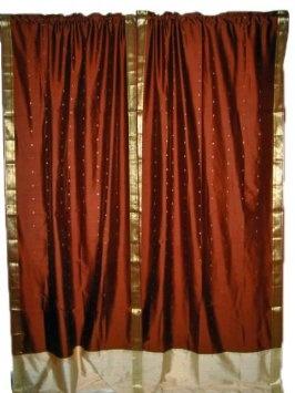 2 India Curtains Warm Brown Artsilk Sari Drapes Curtains Panels Window  Decor Rod Pocket 96: