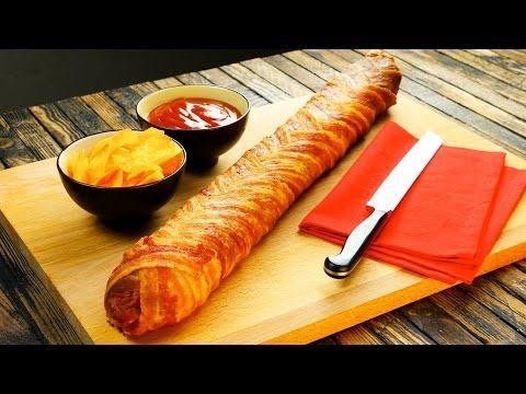 Baconos sajtos szalámis bagett