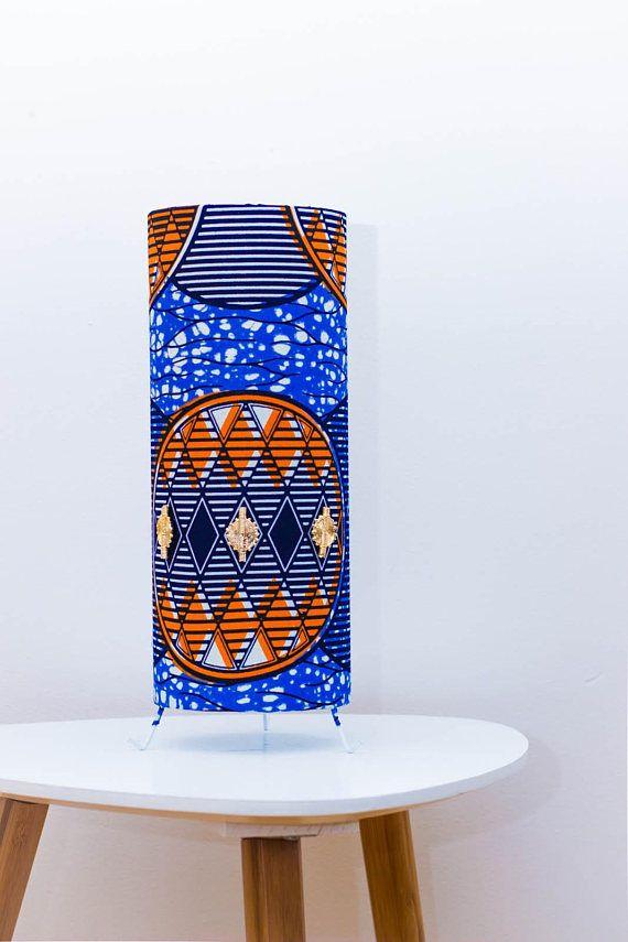 lampe a poser en wax tissu africain