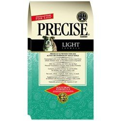 $21.99-$44.10 Precise Light Formula for less Active or Overweight Dogs has no fillers and is highly digestible due to its whole grain, real meat formula. Many dog food companies produce a lower calorie version of their regular food by adding fiber and filler.   Additionally, because we use both chicken fat and lecithin, dog owners have found that they no longer experience the dry skin and flaking ...