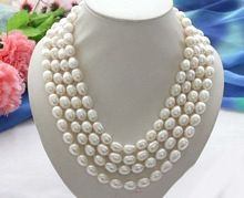 "natural pearl natural jewelry Long 80"" 13mm white rice freshwater pearl cultured necklace Bridal silver hook"